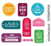 set of colored summer stickers. ... | Shutterstock . vector #505860904