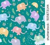 elephants seamless pattern.... | Shutterstock .eps vector #505873144