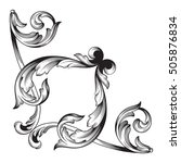 vintage baroque corner scroll...   Shutterstock .eps vector #505876834