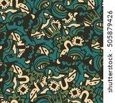 fantasy ethnic seamless pattern.... | Shutterstock .eps vector #505879426