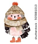 Stock photo little cute bullfinch with winter hat and scarf watercolor hand drawn kids illustration christmas 505881013
