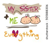 cute sisters vector stock  | Shutterstock .eps vector #505888306