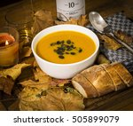 pumpkin soup with bread and... | Shutterstock . vector #505899079
