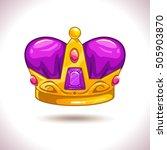 fancy cartoon golden crown icon ...