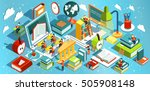 online education isometric flat ... | Shutterstock .eps vector #505908148