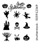 halloween icon set vector | Shutterstock .eps vector #505912369