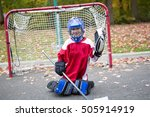 a boy dressed to be the goalie... | Shutterstock . vector #505914919