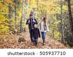 a family of four enjoying... | Shutterstock . vector #505937710