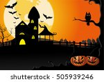 halloween pumpkins on yellow... | Shutterstock .eps vector #505939246