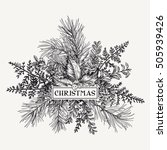 greeting card with pine... | Shutterstock .eps vector #505939426