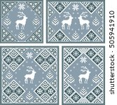 christmas postcard set with... | Shutterstock .eps vector #505941910