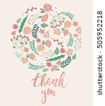 thank you vintage card. vector... | Shutterstock .eps vector #505952218