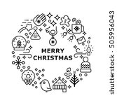 Unique vector concept with different Christmas and new year celebration elements.  Clean and easy to edit in line style vector for t-shirts, banners and other types of business design.