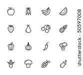 fruit and vegetable icons.... | Shutterstock .eps vector #50597008