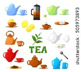 tea set. teapot  lemon  cup ... | Shutterstock .eps vector #505973893