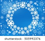 vector wreath isolated. snow... | Shutterstock .eps vector #505992376