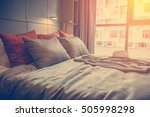 bed maid up with clean white... | Shutterstock . vector #505998298