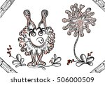 fantasy monster with flower on... | Shutterstock .eps vector #506000509