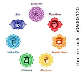 seven colorful chakras anahata... | Shutterstock . vector #506008120