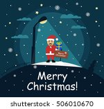 santa claus stands with a gift... | Shutterstock .eps vector #506010670