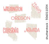 washington  idaho  oregon ... | Shutterstock .eps vector #506011054