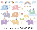 Stock vector vector set of cute isolated elephants great for baby shower and kids design elephants birds 506033836