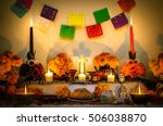 day of the dead altar with... | Shutterstock . vector #506038870
