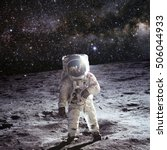 astronaut on the moon with...   Shutterstock . vector #506044933