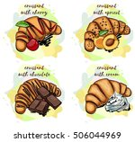 croissant with cream  croissant ... | Shutterstock .eps vector #506044969