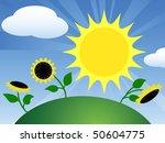 sunflower field under a blue sky | Shutterstock .eps vector #50604775