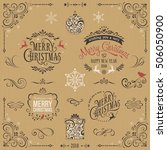 kraft paper ornate christmas... | Shutterstock .eps vector #506050900