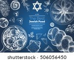 jewish cuisine top view frame.... | Shutterstock .eps vector #506056450