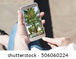 woman with smartphone  planning ... | Shutterstock . vector #506060224