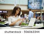 young beautiful business woman... | Shutterstock . vector #506063344