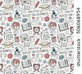 sticker school pattern. themed... | Shutterstock . vector #506068954