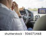 a business man driving a car.... | Shutterstock . vector #506071468