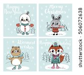 funny christmas personages.... | Shutterstock .eps vector #506072638