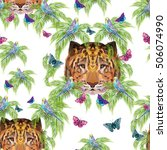 stylish pattern with animals ... | Shutterstock . vector #506074990