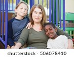 single mother sitting with cute ... | Shutterstock . vector #506078410
