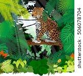 vector jaguar  leopard in... | Shutterstock .eps vector #506078704