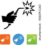 hand holding a welding torch... | Shutterstock .eps vector #506091160