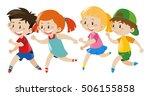 group of kids running... | Shutterstock .eps vector #506155858