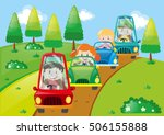 children driving cars in the... | Shutterstock .eps vector #506155888