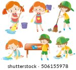 boys and girls doing chores... | Shutterstock .eps vector #506155978
