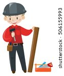 carpenter with wood and tools... | Shutterstock .eps vector #506155993