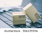 light brown cardboard boxes on... | Shutterstock . vector #506159356