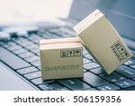 light brown cardboard boxes on... | Shutterstock . vector #506159356