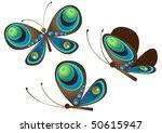 vector of tree color butterflies   Shutterstock .eps vector #50615947