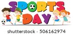 sport day theme with kids... | Shutterstock .eps vector #506162974