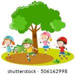boys and girls skating in park... | Shutterstock .eps vector #506162998